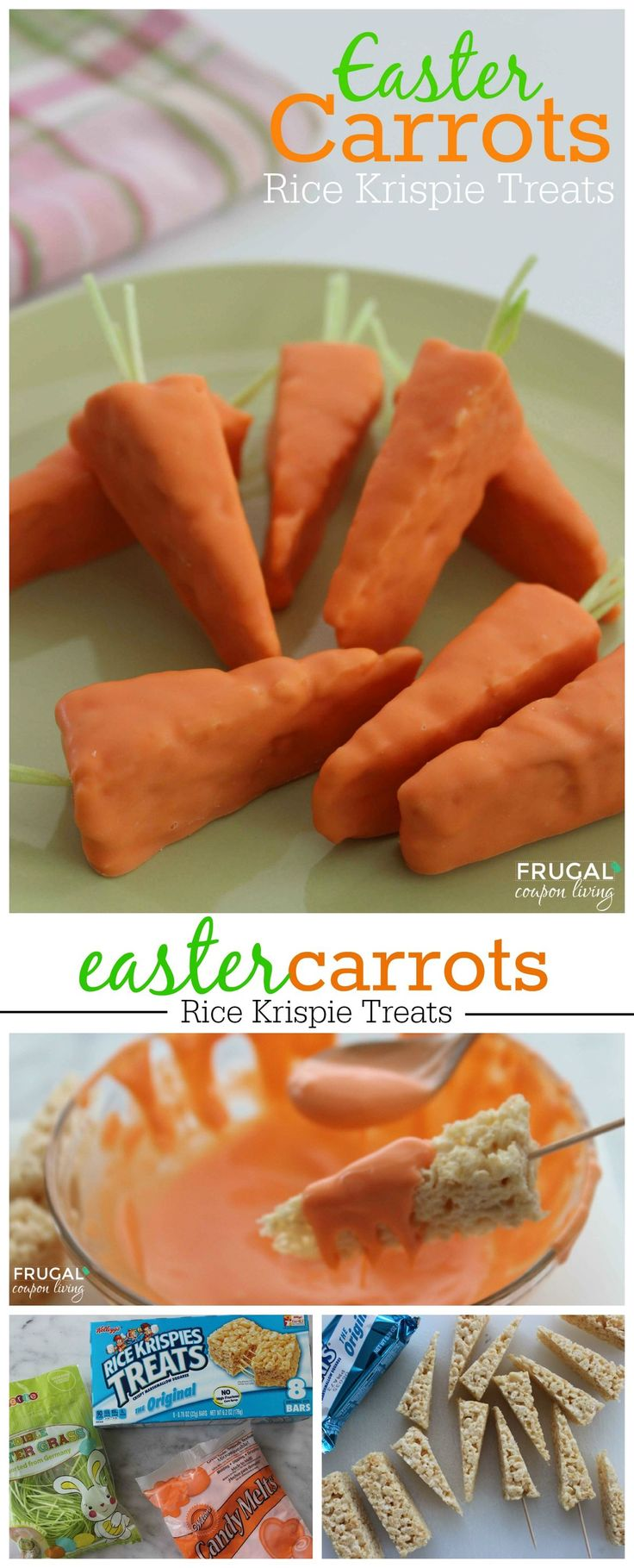 Easy Easter Carrot Rice Krispies Treats - 3 Ingredients. Kids Food Craft on Frugal Coupon LIving. Easter Snack. Easter Recipe. Kids Food Idea.