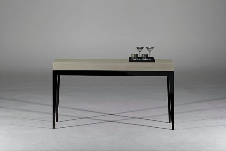 AG144 Console Table in Linen Matt & Black High Gloss Legs  www.michaelnorthcroft.com