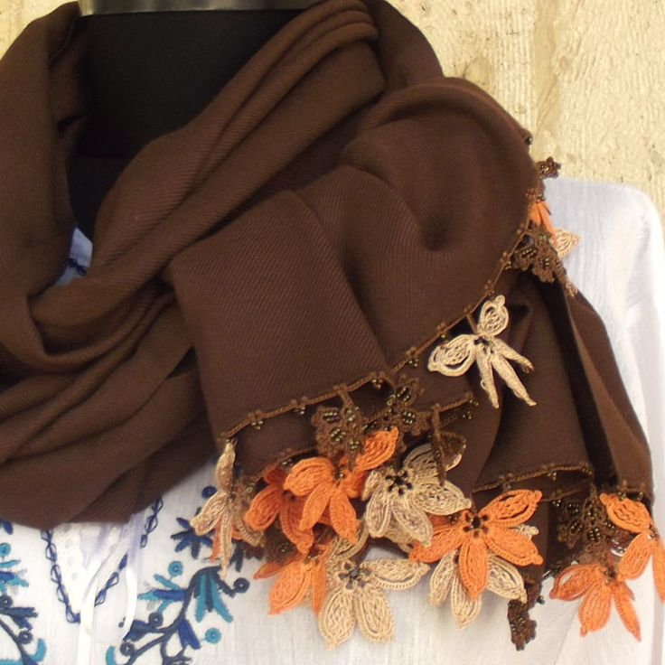 Turkish OYA Lace - Pashmina stole - Chocolate brown by DaisyCappadocia on Etsy