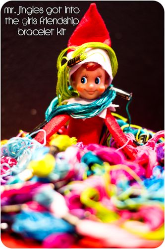 Our Elf of the Shelf, Mr. JinglesAdventure 2011, Christmas Colors, Christmas Elf, Shelf Jingles Kneehugg, Elf Fun, Shelf Ideas, Friendship Bracelets, Jingle Adventure, Holiday Christmas