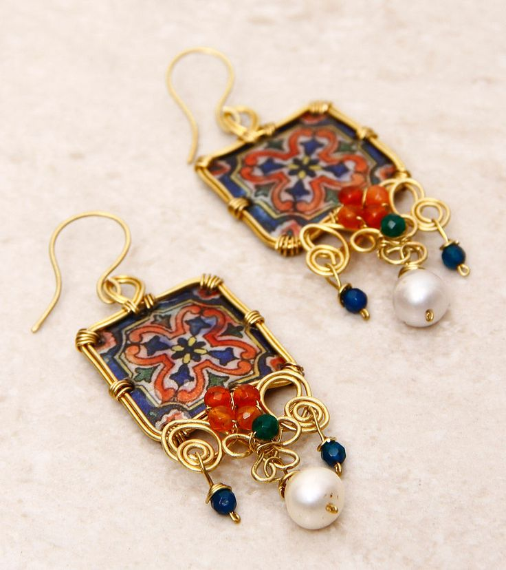 SILVER NUT TREE - Pattern Tile Trellis Earrings  Click on the photo to shop! :)
