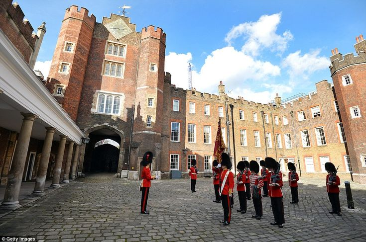 The St James's Palace detachment of The Queen's Guard turns out in Colour Court, St James Palace, for the arrival of Queen Elizabeth II, ahead of the christening