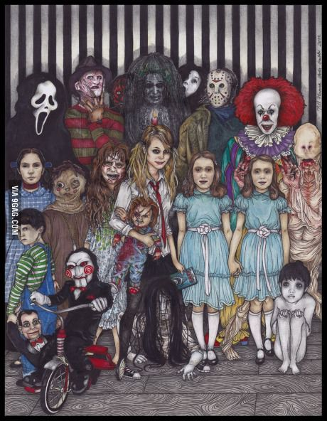 Every nightmare in one picture..except I would remove the Scream guy and replace him with Michael Myers.