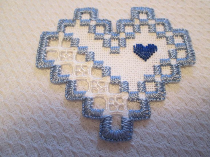 HARDANGER Heart Blue Norwegian Embroidery Cut Work - CAD $8.99. A Hardanger heart . Size is 3-1/4 x 3 inches. Done on 22 ct white with white- blue stitching Made by me. 192452616776