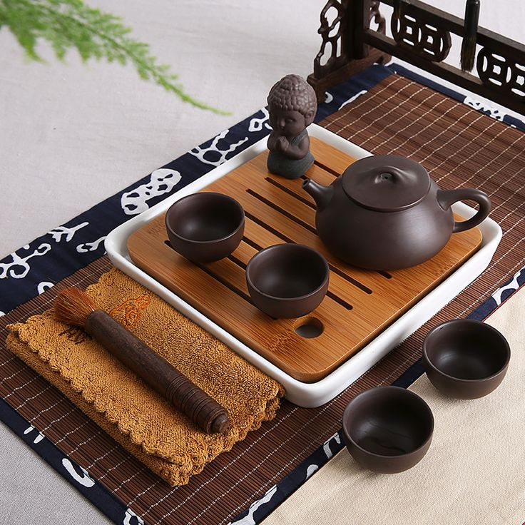 Bambú mesa de té juego de té de cerámica tetragonal seco estilo japonés kung fu juegos de té de porcelana / yixing real zisha taza olla de vidrio(China (Mainland))