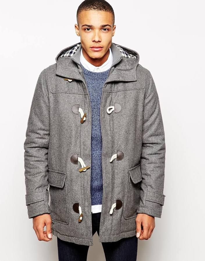 $77, Grey Duffle Coat: Solid Wool Duffle Coat. Sold by Asos. Click for more info: http://lookastic.com/men/shop_items/243031/redirect