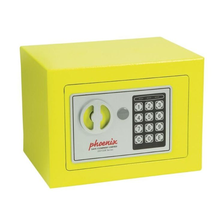 he phoenix yellow compact office safe has an attractive and unique yellow design helping it to - Compact Hotel Decor