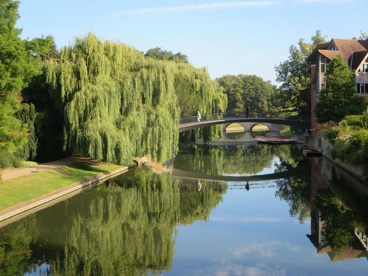 The River Cam separates an area of parkland known as The Backs from the historic college buildings at Cambridge, England.