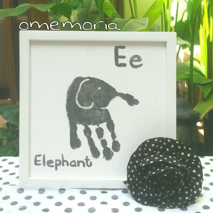 E for elephant handprint art by omemoria