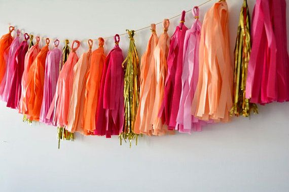 Tissue Paper Tassel Garland - fiesta - orange, cerise, pink & peach on Etsy, 119.74 ₪