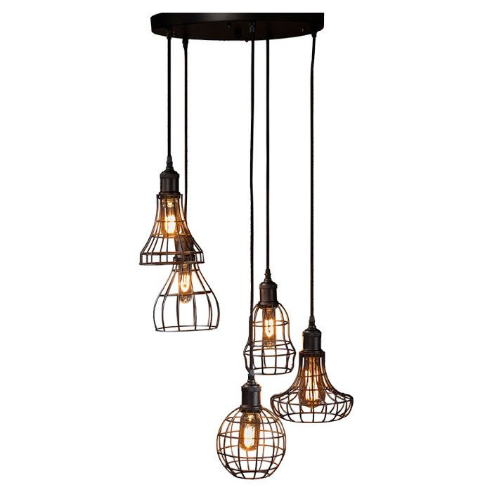 Create an industrial focal point in your kitchen or dining room with this metal pendant light featuring five cage style shades