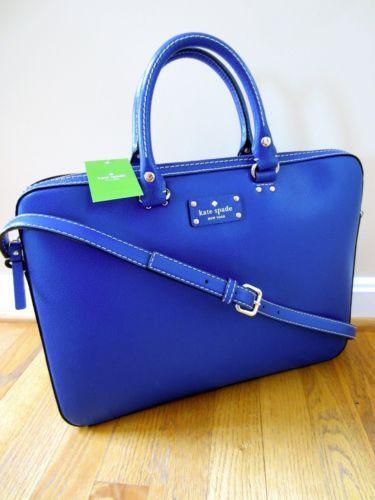 Kate Spade Wellesley Tanner Leather Laptop Case Bag Briefcase Blueberry Jam |