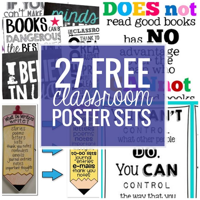 Add some color and inspiration with classroom posters. Here are 27 free classroom posters sets for and grade level! These instant download poster sets cover inspirational quotes,