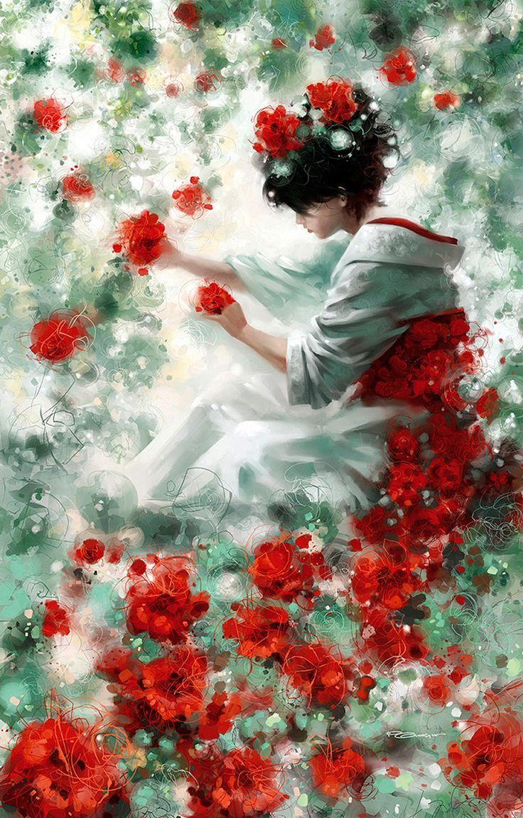 Red FlowersGeishas, The Artists, Red Flower, Colors, Doces Paul, Paul Cartwright, Poppies, Kimonos, Oil Painting