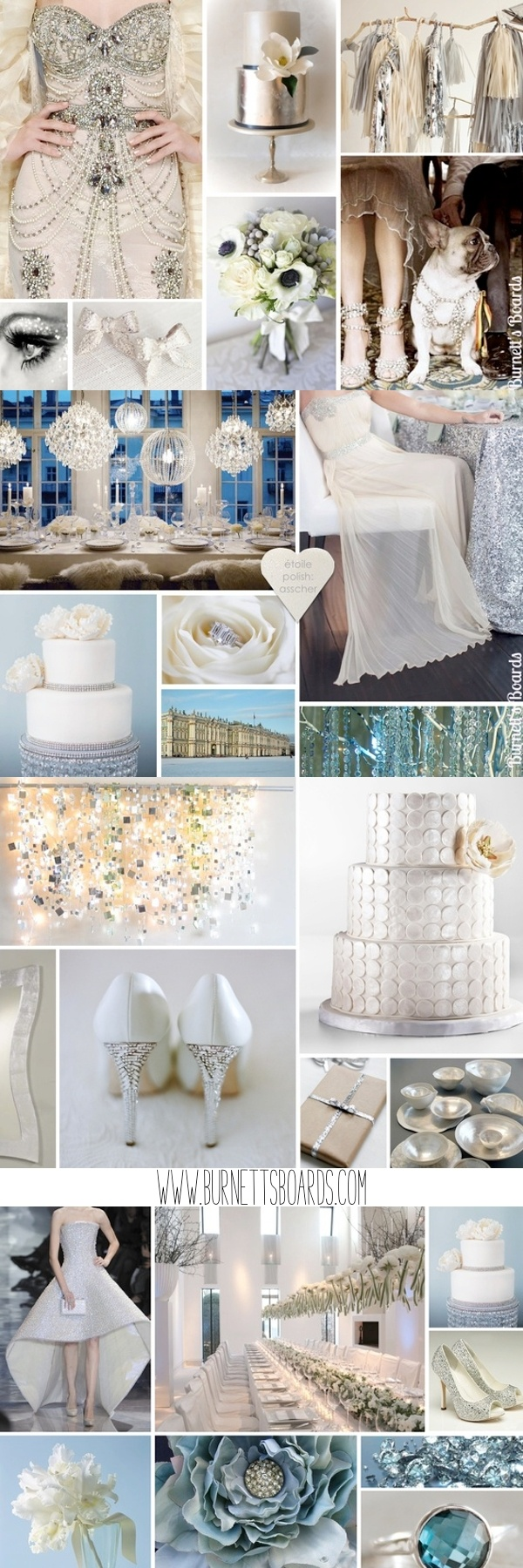 Silver wedding inspiration http://burnettsboards.com/category/metallics/