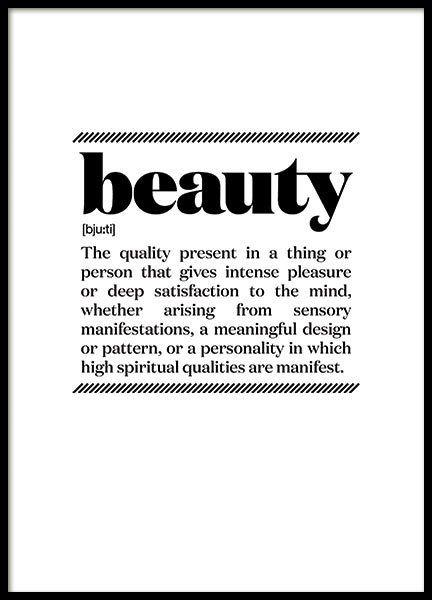 Poster med svartvit text Beauty. Citattavlor och typografi prints till ditt hem | Archiveseven.com