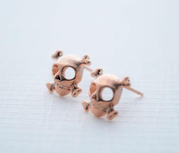 Rose Gold Skull Earrings Uncovet