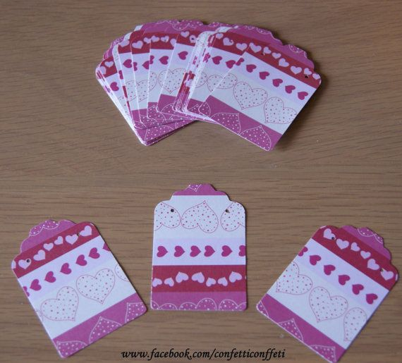 24 x Jewellery Tags Cards  Stripey Pink Heart by ConfettiConffeti, $3.20