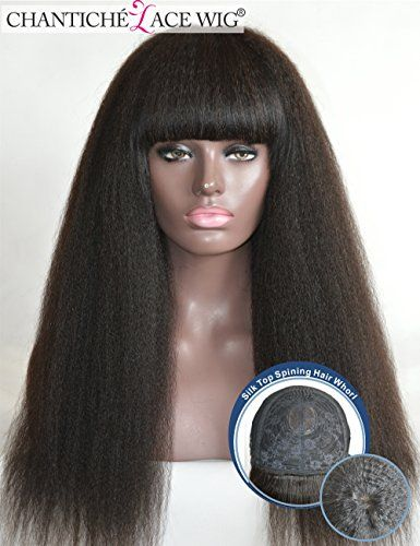 Chantiche Italian Yaki Silk Top Spinning Hair Whorl Human Hair Wigs Natural Looking Indian Remy Hair Full Wig With Straight Bangs For Black Women 16inch 1B * You can find more details by visiting the image link.Note:It is affiliate link to Amazon.