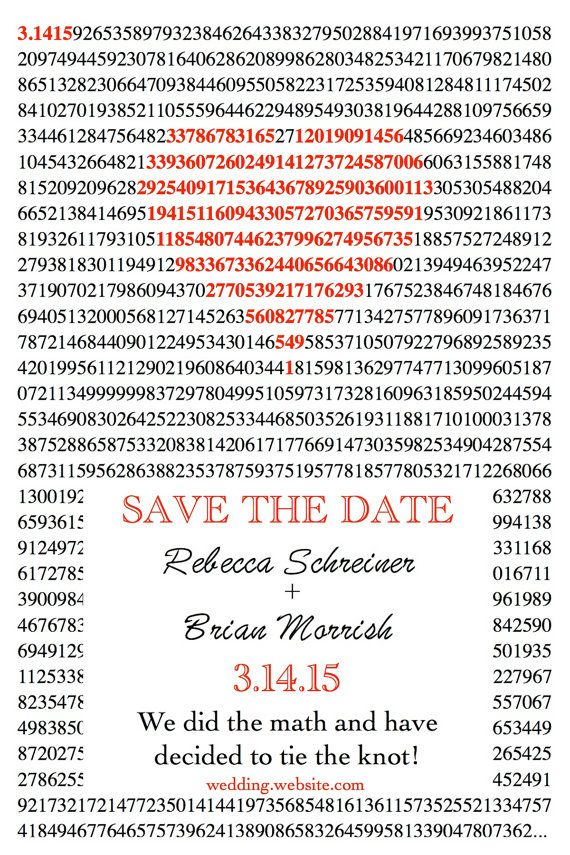 Pi Day Save the Date by InFocusDesigns on Etsy.  This is our idea for invitations! Hopefully she can edit them.
