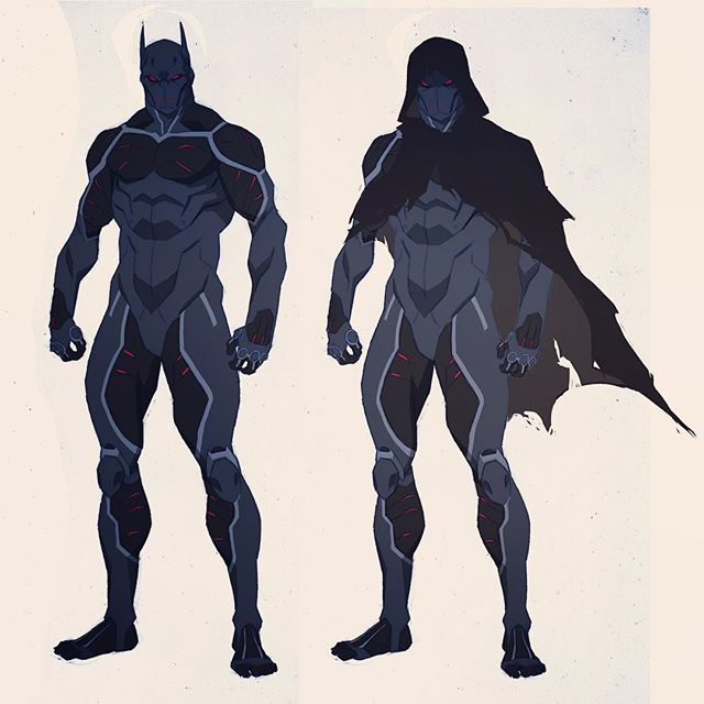 Cleaning up my desktop I found this unused sketch of Heretic from Batman: Bad Blood. I was going for the look of a Bat suit with the top layer peeled off to make it look like a human body without skin, exposing muscles and tendons. I still like the concept but the design was getting a little busy so we went in another direction entirely. #heretic #conceptart #characterdesign #batman #batmanbadblood #dccomics #wbanimation