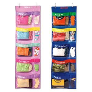 What a time saver to do a week of clothes at a time and kiddos can dress themselves.   Days-of-the-week Hanging Organizer | Lillian Vernon - Kids Rooms | Lillian Vernon