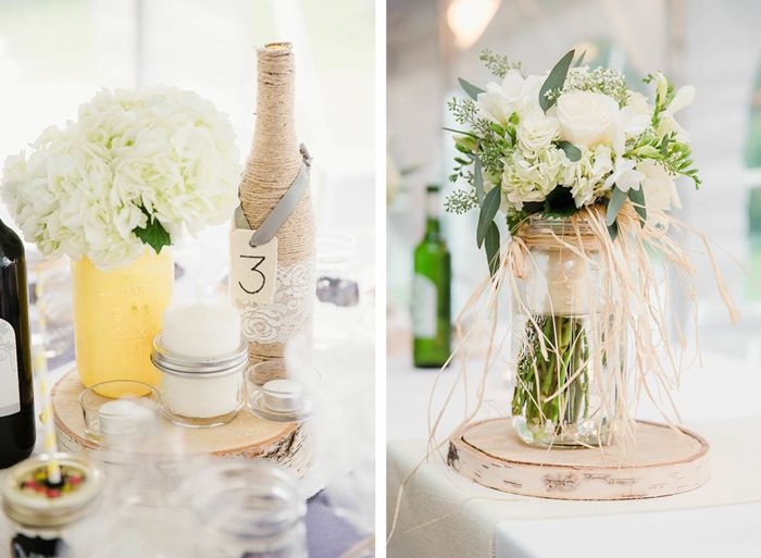 Wooden Centerpieces, white hydrangeas, and mason jars make for great decor!