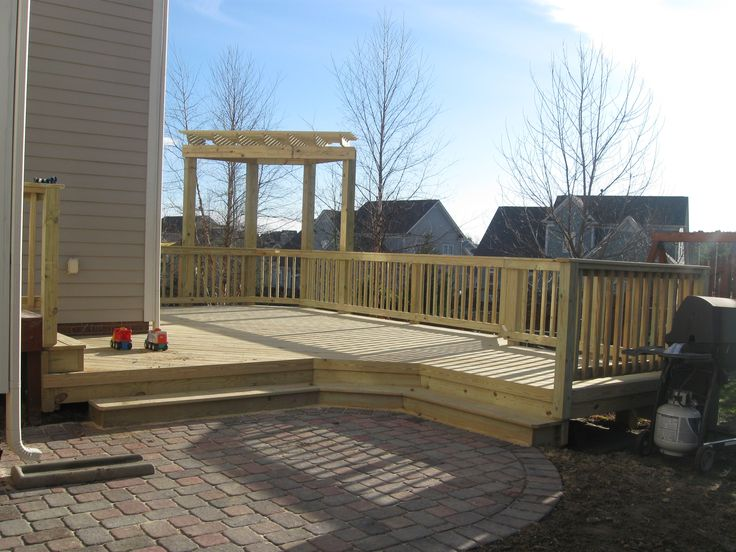 Patio Ideas With Wood | Pavestone Paver Patio Below Cox Brand  Pressure Treated Wood Deck