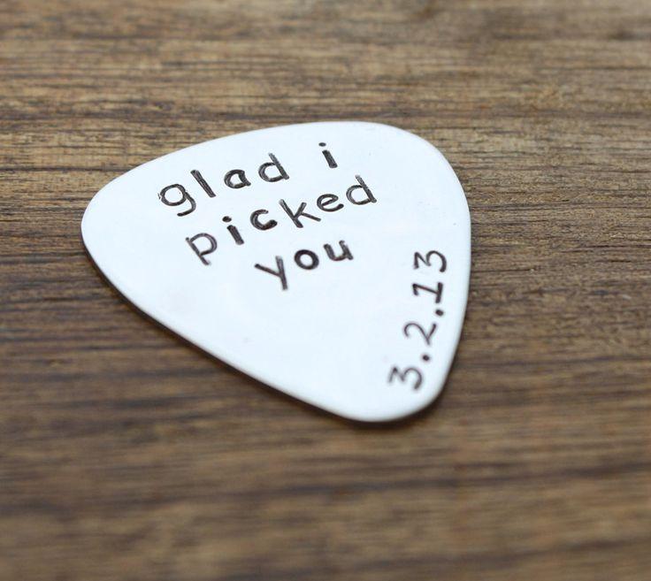 Glad I Picked You Guitar Pick valentines day birthday anniversary christmas for him mens husband boyfriend groom finance www.sierrametaldesign.com