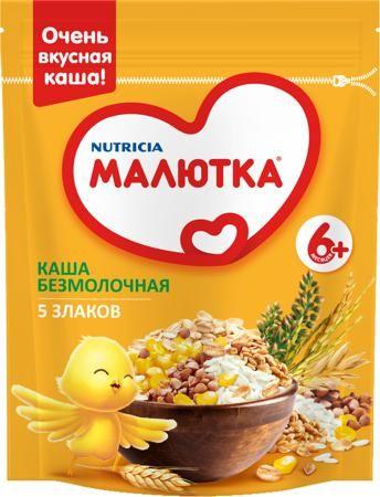 Малютка (Nutricia) Безмолочная 5 злаков (с 6 месяцев) 200 г  — 89р.  Каша безмолочная Малютка 5 злаков с 6 мес. 200 г. Каша, состоящая из риса, овса, кукурузы, гречки и пшеницы отлично подойдет для питания детей. Она обладает приятным натуральным вкусом и нежным ароматом. Продукт готов к употреблению, стерилизован и обогащен пребиотиками, способствующими повышению общего тонуса организма ребенка. Каша содержит в своем составе множество полезных витаминов и микроэлементов, легко усваивается и…