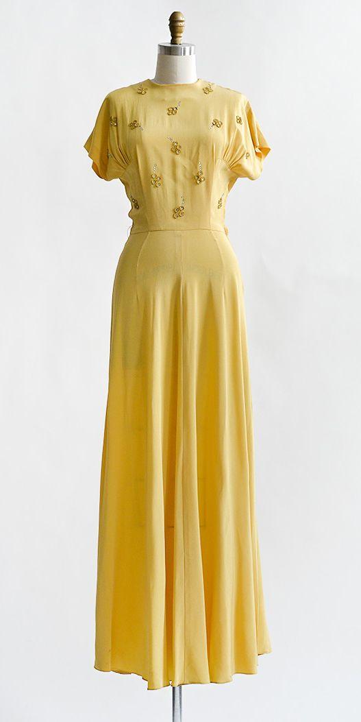 Golden Reveries Dress | Vintage 1940s golden yellow rayon gown with appliqués #1940s #vintagedress
