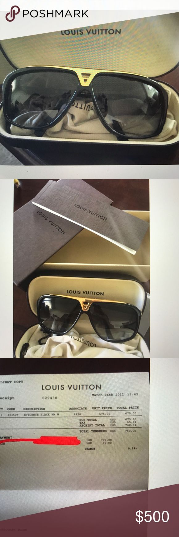 Louis Vuitton evidence sunglasses Barely used, Louis Vuitton evidence sunglasses. In very good condition. Very stylish and great for both men and women. I am the original owner and bought it directly from the retail store. Louis Vuitton Accessories Glasses