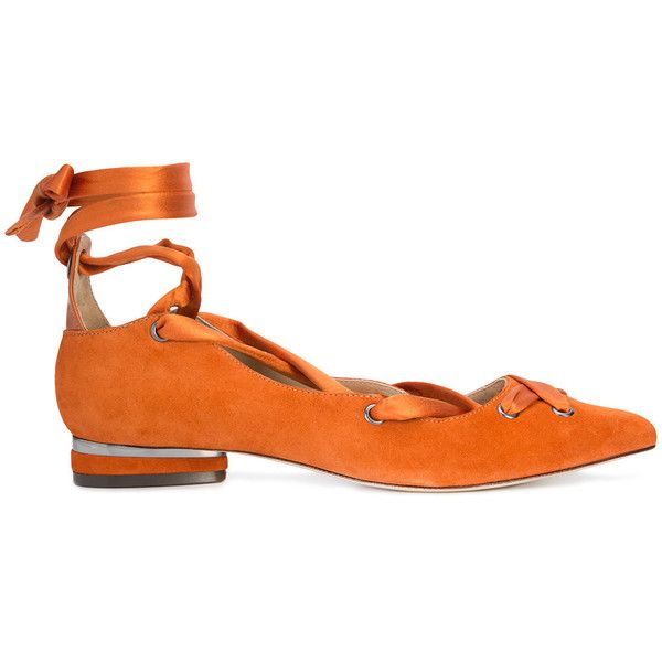 Zac Zac Posen Header ballerinas ($260) ❤ liked on Polyvore featuring shoes, flats, orange shoes, orange flats, leather shoes, ballerina flats and orange ballet shoes