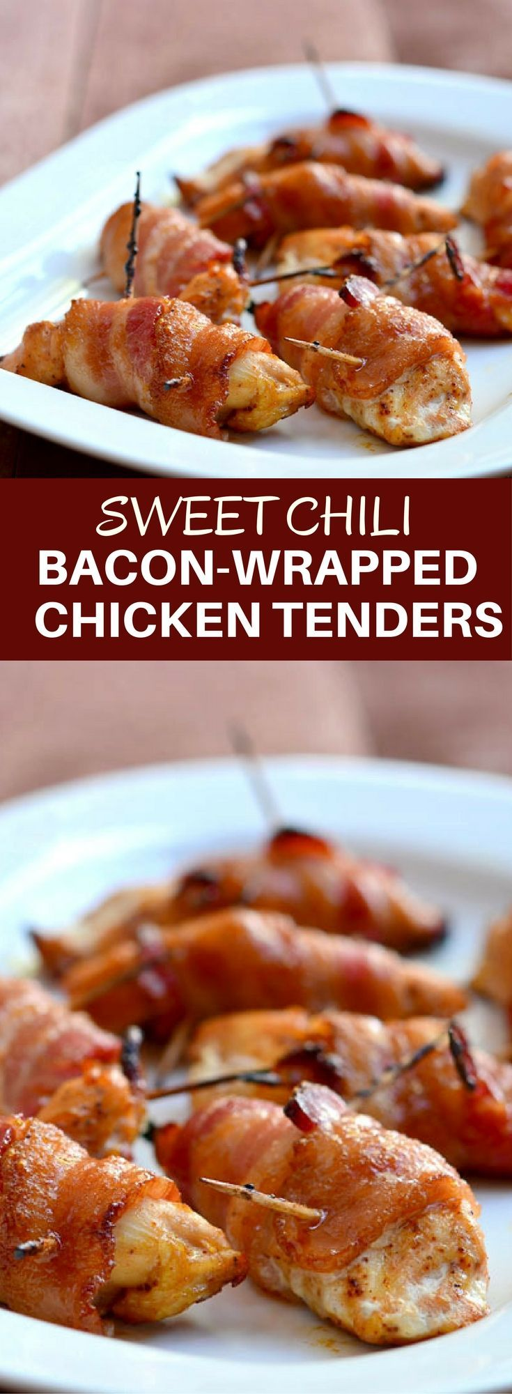 Sweet Chili Bacon-Wrapped Chicken Tenders coated in brown sugar and chili powder and then baked until crisp and delicious! Perfect as game day appetizers or as an easy weeknight dinner. #chickenappetizers #chickentenders #bacon #brownsugarchicken