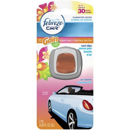Febreze Car Vent Clip Air Freshener, Gain Island Fresh