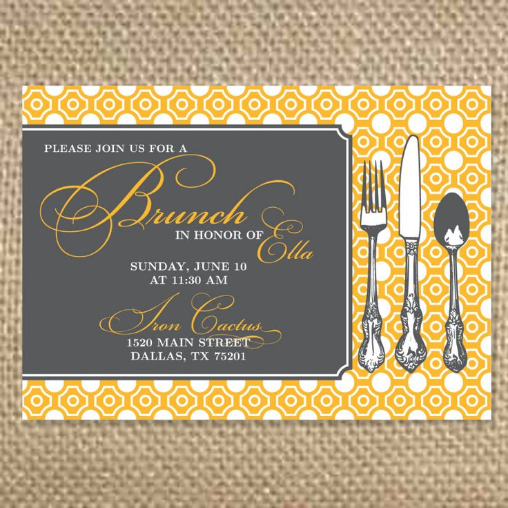 Pretty Bridal Brunch Invitation. $1.75, via Etsy.  Also a cute option, more brunch centered.  Colors are customizable.  That's not a word, but if it were I hope it would be spelled like that.