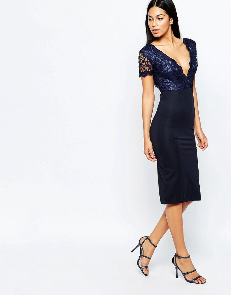 Image 4 of Club L Midi Dress with Lace Scallop Plunge