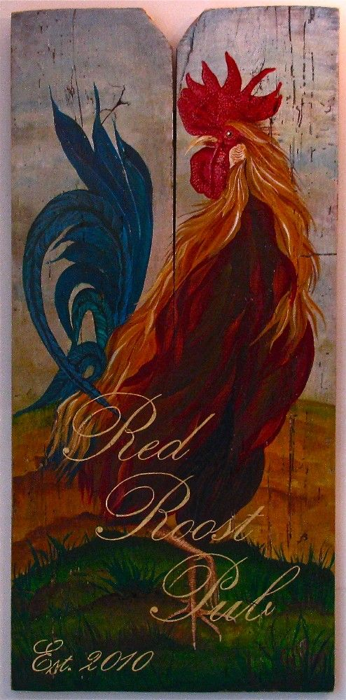 RoosterRed Roost Pub Original acrylic by johnandgigiathome on Etsy, $400.00