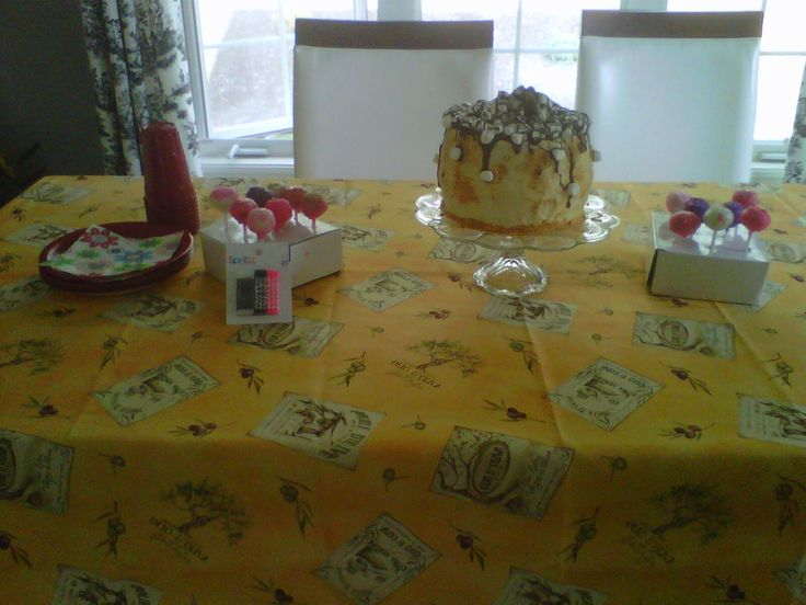 Look at the table with the treats.