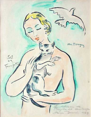 woman with cat   Kees van Dongen  and Fujita Tsuguharu