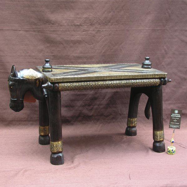 Табурет «Лошадка»(дерево, латунь) / Табуреты / КАТАЛОГ / мебель из массива, Индийская мебель, Восточная мебель