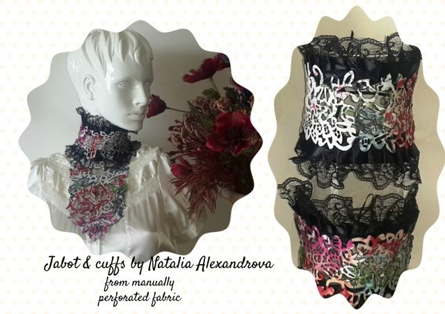 Set: jabot and cuffs from a manually perforated fabric.  Designed and handmade by Natalia Alexandrova