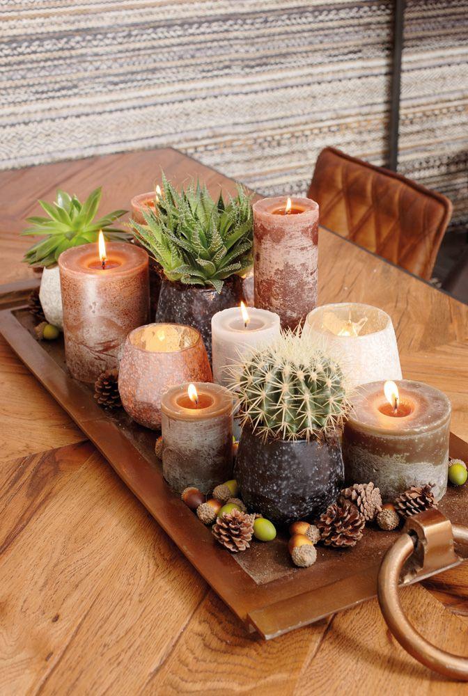 Tray met kaarsen en theelichten