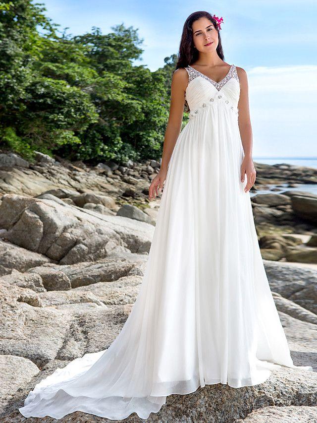 Lanting Bride® A-linje Petite Plusstorlekar Brudklänning - Chic och modern Kapellsläp V-hals Chiffong med Paljett Pärldekorerad - SEK kr1,498
