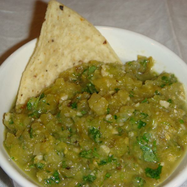 Roasted Green Tomato Salsa | No Empty Chairs