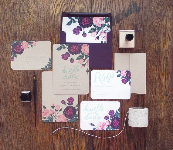 Painted Botanicals Wedding Invitation & Correspondence Set / Deep Vintage Florals and Hand Lettering / Sample Set