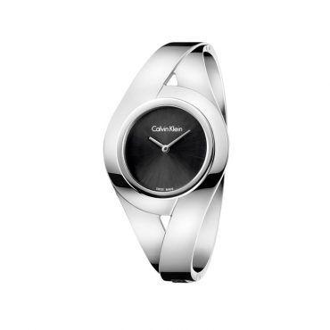 K8E2M111 Γυναικείο ελβετικό ρολόι CALVIN KLEIN Sensual με μαύρο καντράν και ατσάλινο μπρασελέ χειροπέδα | Ρολόγια CK ΤΣΑΛΔΑΡΗΣ στο Χαλάνδρι #Calvin #Klein #sensual #μαυρο #μπρασελε #ρολοι