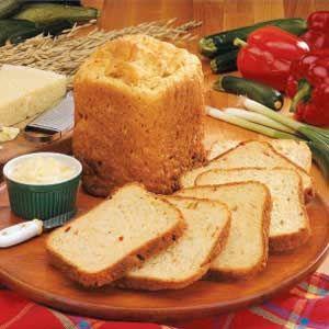 Garden Vegetable Bread - Buttermilk + Oil + Shredded Zucchini + Chopped Bell Pepper + Green onions + Parmesan + sug ar + Salt + lemon pepper seasoning + old fashioned oats + bread flower + yeast