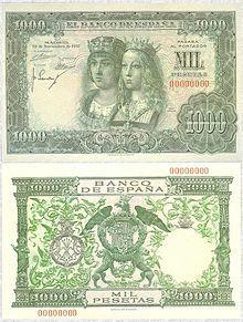 Billete español de 1957 con los retratos y el escudo de los reyes Isabel y Fernando.