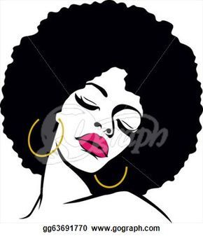 Afro Hair American Woman Vector Clipart - Free Clip Art Images
